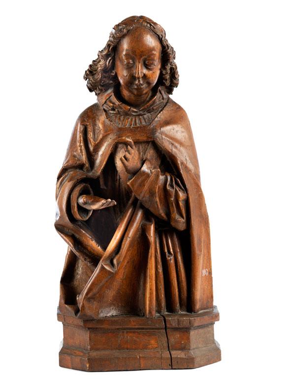 Geschnitze Halbfigur eines gotischen Engels