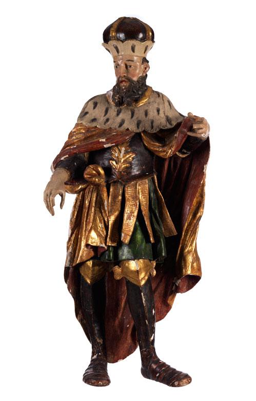 Schnitzfigur eines Herrschers