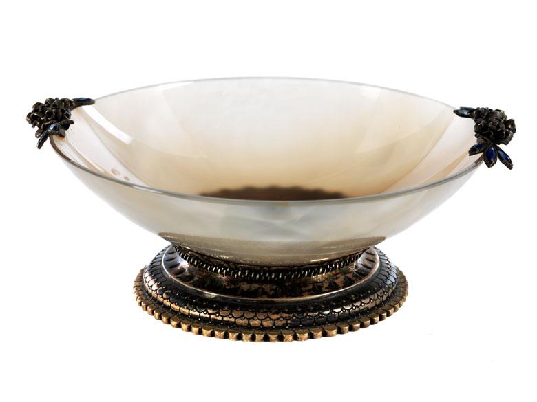 Achatschälchen mit Silbermontierung
