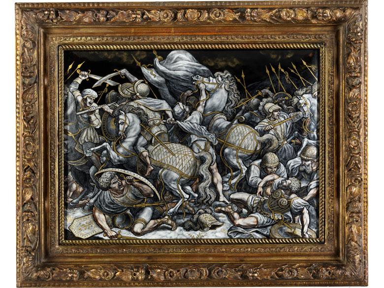 Große Limoges-Emailbildplatte mit Darstellung der Anghiari-Schlacht