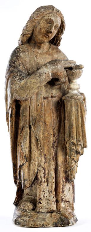 Gotische Steinfigur des Heiligen Evangelisten Johannes