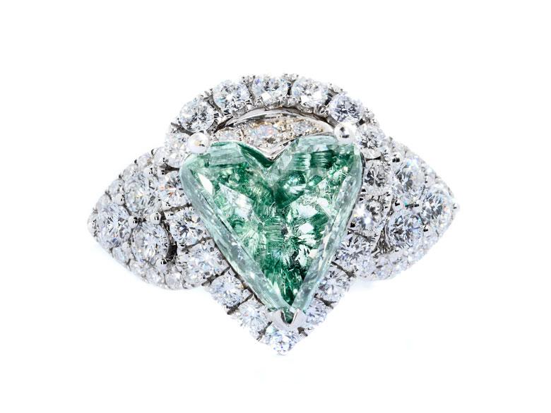 † Grüner Diamant-Herzring