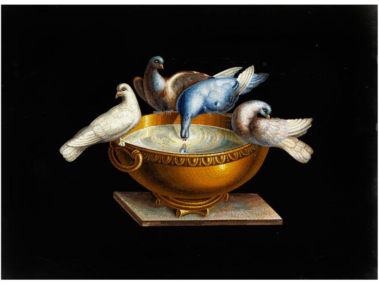 """Große Mikromosaikplatte mit den """"Tauben des Plinius"""""""