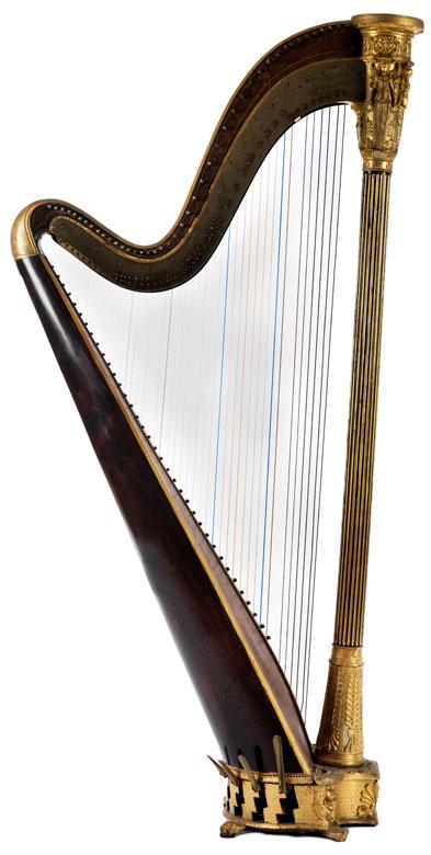 Harfe mit Empire-Schnitzdekor