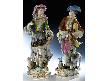 Paar große Porzellanfiguren
