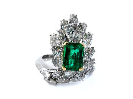 Detailabbildung: Diamant-Smaragdring