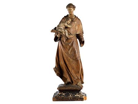 Schnitzfigur des Heiligen Franziskus mit dem Jesuskind