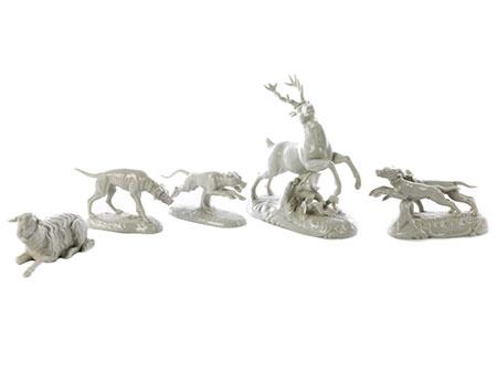 Nymphenburger Porzellanfigurengruppe mit fünf Teilen