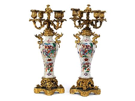 Paar Chinoiserie-Vasenleuchter