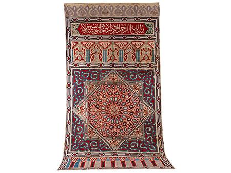 """Ägyptischer Wandteppich (""""Mameluk"""") mit Koransprüchen und geometrischer Musterung"""