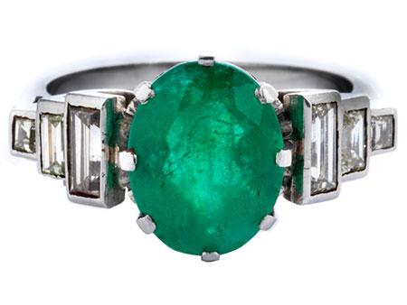 Detailabbildung: Smaragd-Diamantring