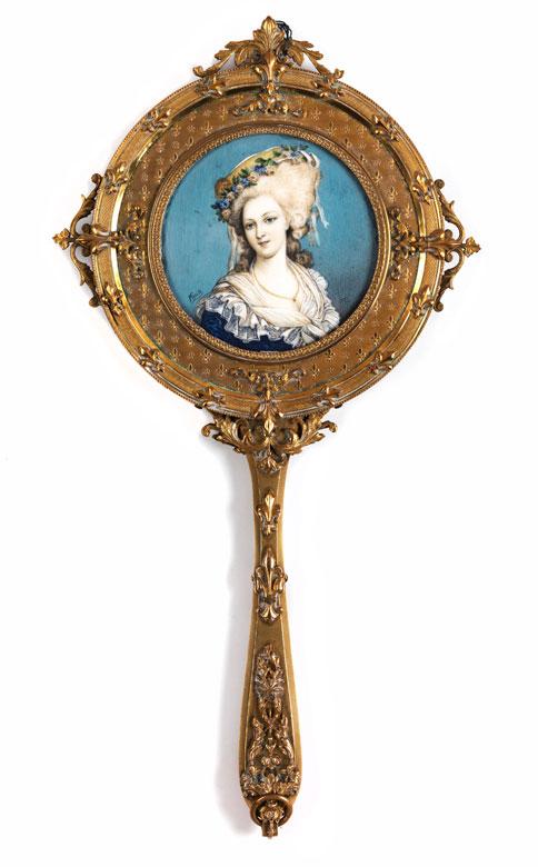 Vergoldeter Handspiegel mit Miniaturportrait