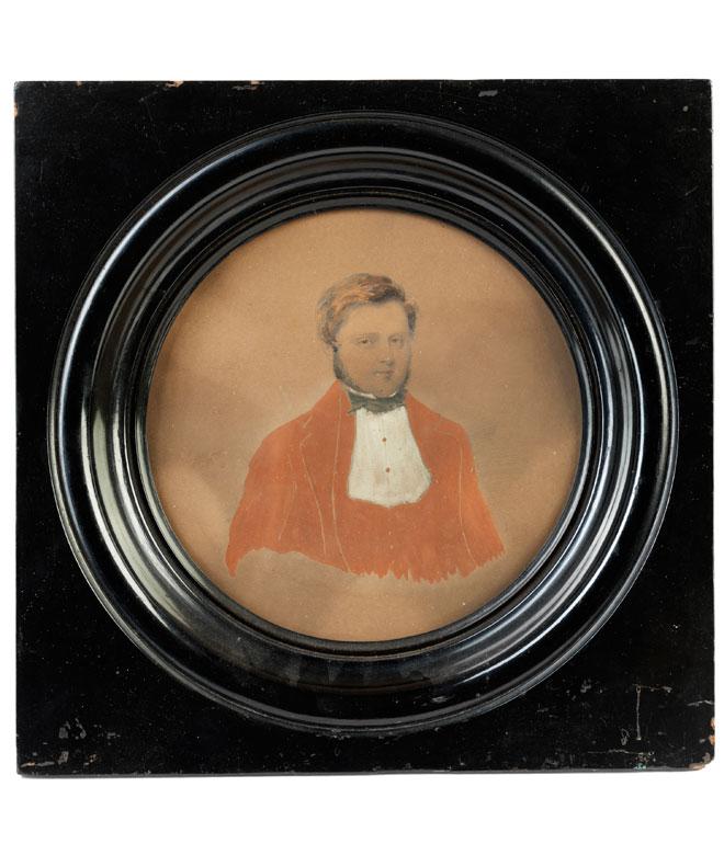 Bildnis eines Herrn in rotem Rock und weißem Hemd