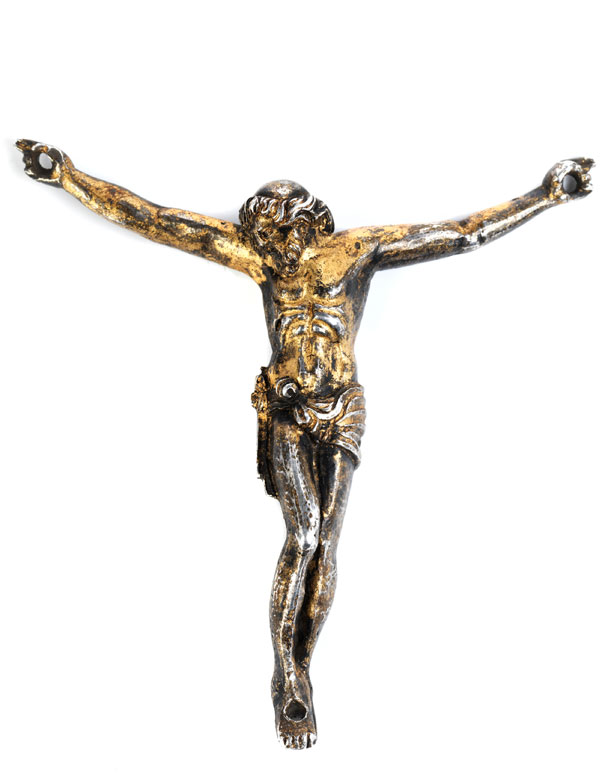 Silberne Christus-Skulptur