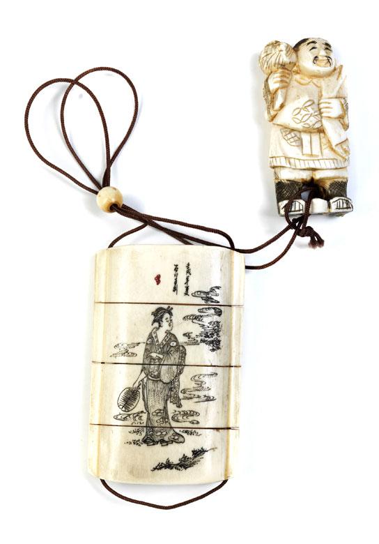 Elfenbein-Inro und Ojime-Netsuke