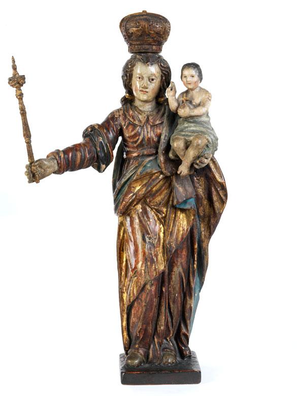 Schnitzfigur einer Maria Immaculata mit dem segnenden Jesuskind