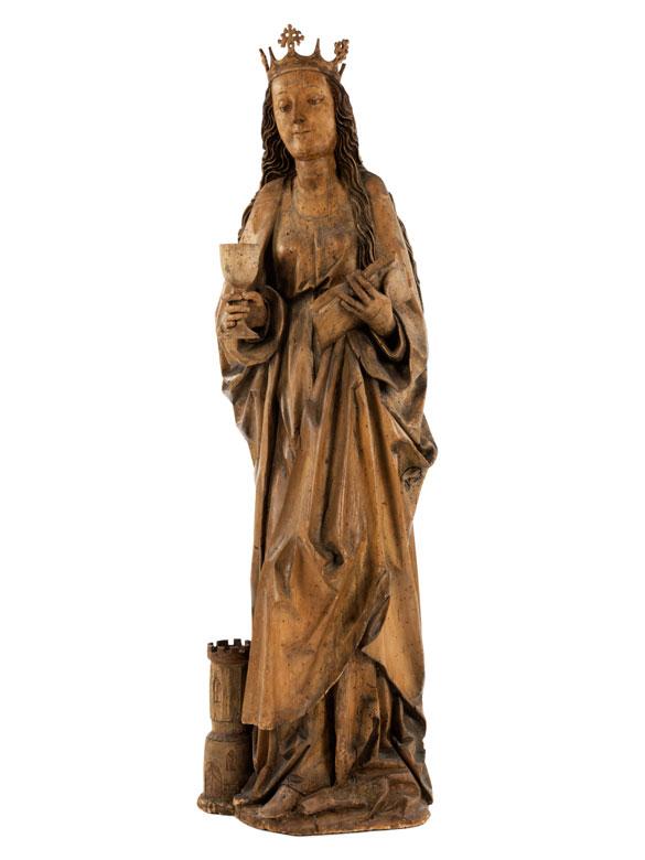 Große spätgotische Schnitzfigur der Heiligen Barbara