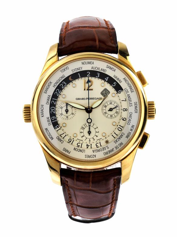 GIRARD PERREGAUX Chronograph in Gold mit Weltzeit-Anzeige