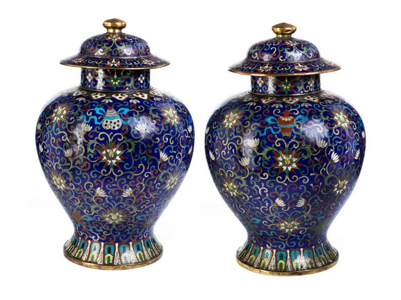Paar Cloisonné-Vasen