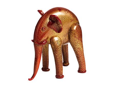 Glasfigur eines Elefanten von Napoleone Martinuzzi (1892 - 1977)