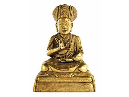 † Tibetanische Bronzefigur eines sitzenden Lama