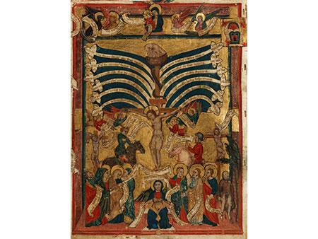 Seltenes Pergamentbildblatt aus einem Antiphon des 15. Jahrhunderts
