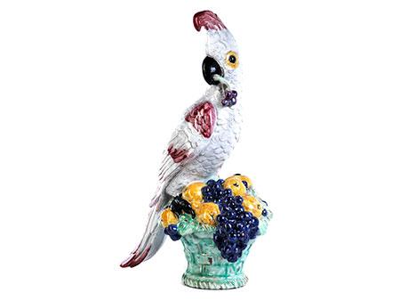 """Nymphenburger Tischskulptur """"Papagei mit Kirsche"""""""