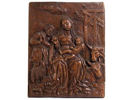 Reliefbildtafel mit Darstellung der Geburt Christi in Bethlehem
