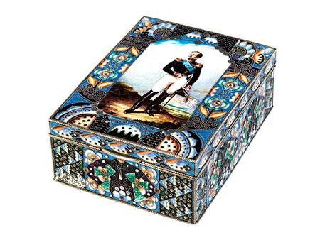Moskauer Silberdose mit Bildnis Nikolaus I