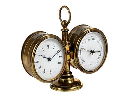 Englische Tischuhr mit Barometer