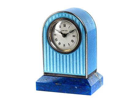 CARTIER-Miniaturuhr im original Ledergehäuse