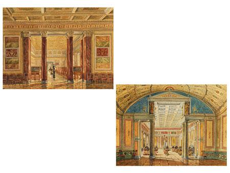 Paar Interieurdarstellungen von Räumen der Eremitage Sankt Petersburg