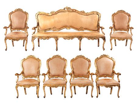 Bedeutende Rokoko-Sitzgruppe aus dem Hause Savoyen