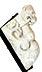 Detail images: Paar Steinkämpfer in Form von Fabelwesen