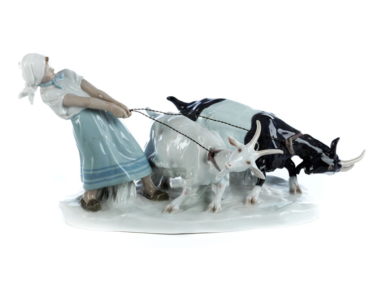 """Meissen-Porzellanfigurengruppe """"Mädchen mit Ziegen"""""""