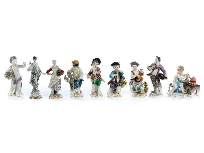Acht Meissener Porzellanfiguren