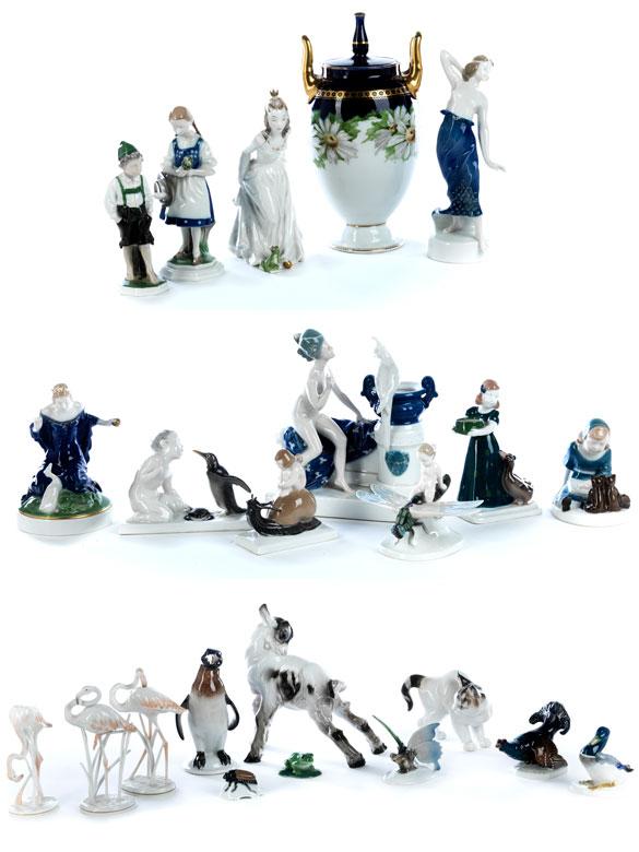 Konvolut von 21 Porzellanfiguren und einer Deckelvase von Rosenthal