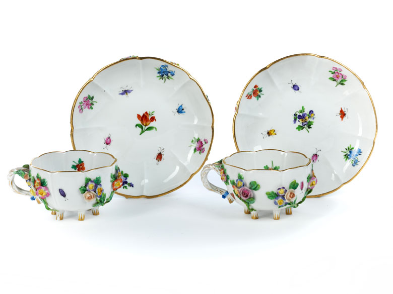 Paar Meissener Teetassen mit Untertassen