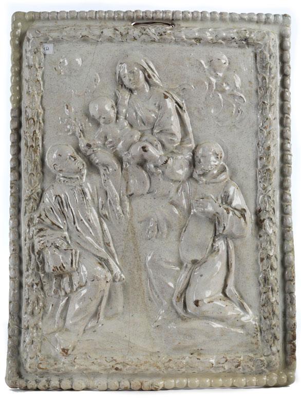 Reliefplatte in Majolika