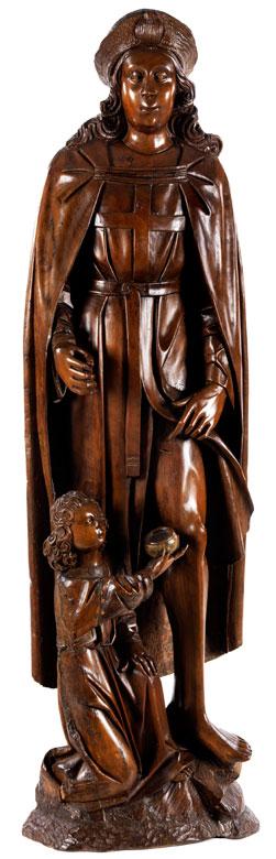 Schnitzfigur des Heiligen Rochus