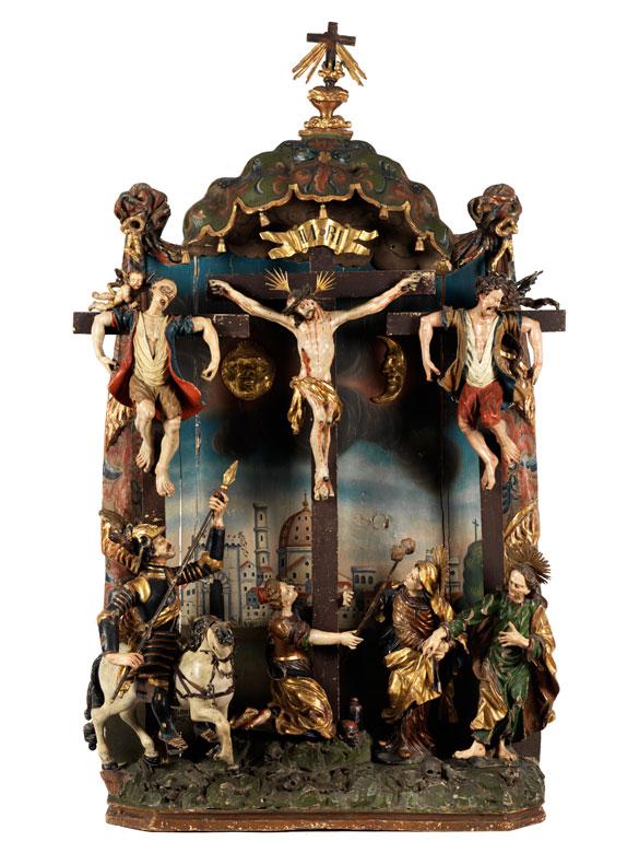 Seltener und bedeutender Schnitzaltar des bayerischen Barock von Lorenz Luidl (um 1645 Mering - 1719 Landsberg am Lech) und Werkstatt