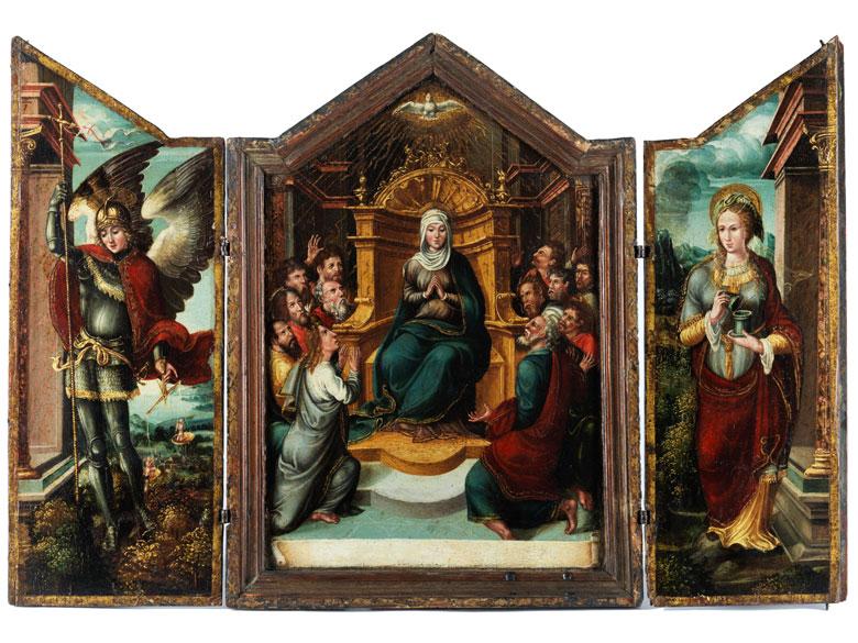 Kleiner Klappaltar-Triptychon mit Darstellung des Pfingstwunders und der Heiligen Luitgard von Wittchen