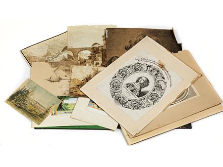 Konvolut von zwölf Handzeichnungen und Stichen
