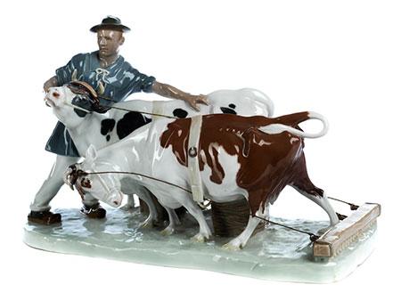 "Meissener-Figurengruppe ""Bauer mit zwei Kühen"""