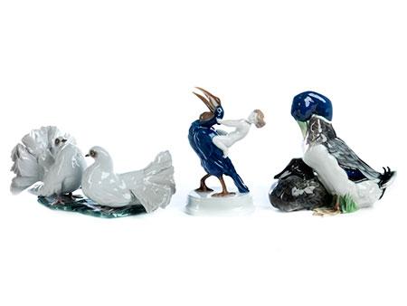 Drei Rosenthal-Porzellanfigurengruppen mit Vögeln