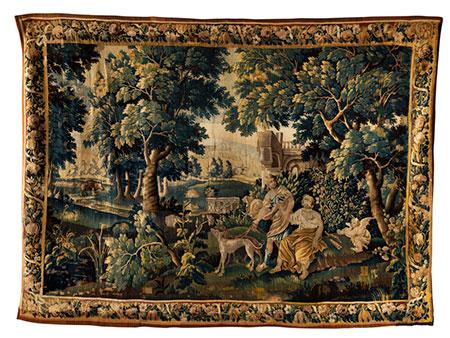 Große Tapisserie mit Diana und Adonis auf der Jagd