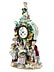 Detail images: Porzellanuhr mit Flötenspieler, Obst- und Blumenverkäuferinnen
