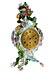 Detail images: Porzellanuhr mit floralem Dekor