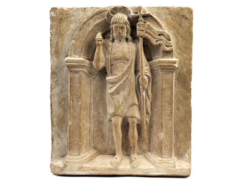 Steinrelief mit Darstellung des Heiligen Johannes Baptist