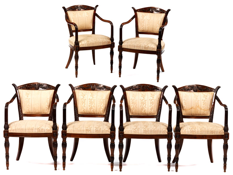 Satz von sechs neoklassizistischen Stühlen